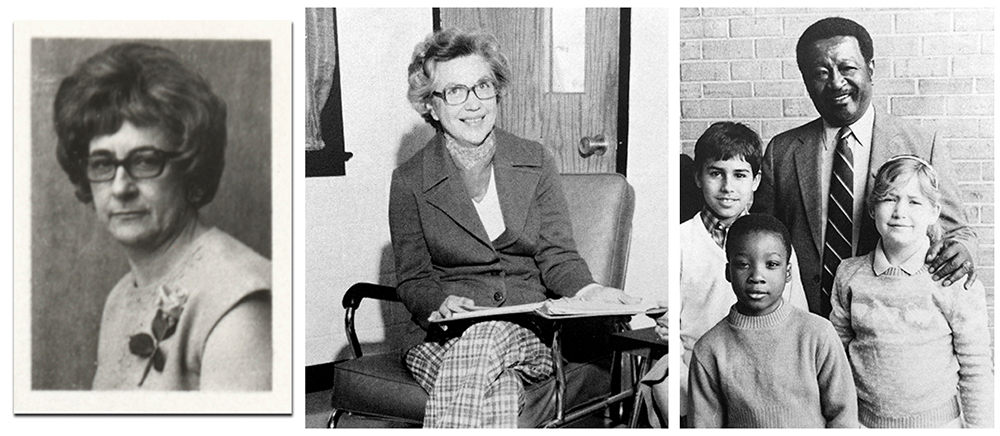 Black and white portraits of principals Beatrice Ward, Marvis Wynn, and Joseph Rucker. Beatrice Ward's picture is a head-and-shoulders portrait from a FCPS directory of school principals printed in 1969. Marvis Wynn's picture comes from our 1976 to 1977 yearbook. She is seated in chair, presumably in her office, and is holding a three ring binder which sits open on her lap. Joseph Rucker's photograph comes from our 1985 to 1986 yearbook. He is standing next to a brick wall with three children in front of him, two boys and a girl.