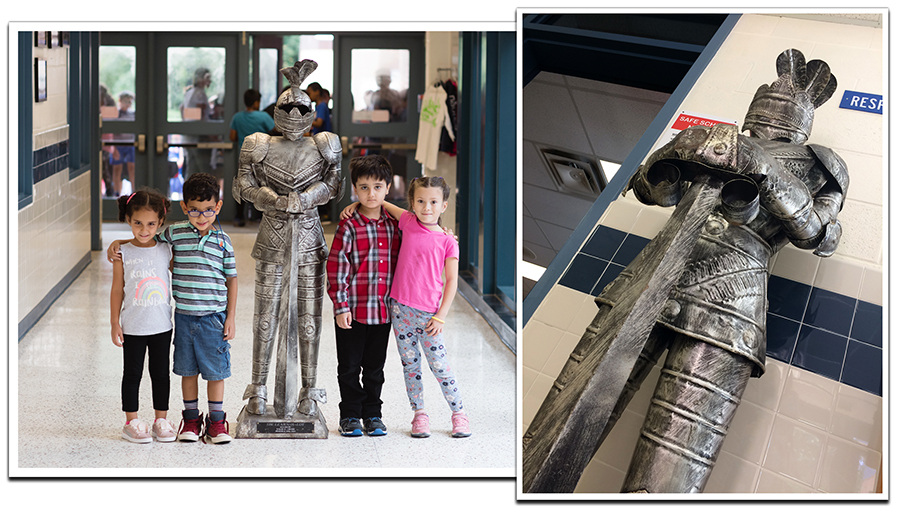 Two photographs of the knight statue known as Sir Learn-a-Lot. The statue stands about four or five feet tall, and appears to be made of brushed metal. The knight is wearing a full suit of plate armor. It has a helmet on its head, and is holding a broad sword with its blade imbedded downward into the pedestal base that holds up the statue. On the base of the statue is a plaque that tells how the statue was dedicated to the school by Principal Chubb. In the photograph on the left, four young students are posing for the camera in a hallway with the statue between them. On the right is a photograph of the statue taken from a low angle, showing the detail of the workmanship on the armor.