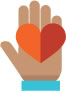 Heart on hand volunteer icon