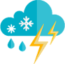 icon for weather cloud snowflake raindrops and ligtening