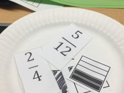 photo of paper plate math cards